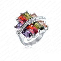 Band Rings Fashion Rings Unique fashion rhodium genuine Austrian crystal rainbow opal skull ring wedding ring 26 * 25 R289-C