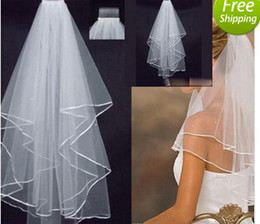 Wholesale Cheap Real Sample Stock Layer White Ivory Wedding quot Satin Edge Veils For Wedding Dresses Bridal Gowns Bridal Accessories