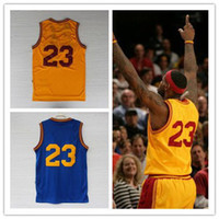 Men throwback jerseys - LeBron James throwback blue yellow retro swingman Basketball Jerseys Sportswear Jersey Mix order