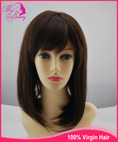 Wholesale stock Indian human remy hair wig full lace wig natural brown quot with bangs lace front wig