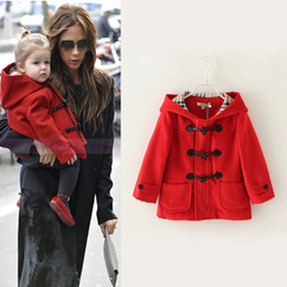 Wholesale 2014 NEW Baby girls Red Wool hooded Tench Coat Kids girl fashion Autumn winter warm outwear