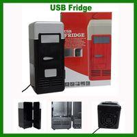 Wholesale FREE DHL USB PC Fridge Car Refrigerator MINI Portable Heater Beer Juice Warmer Cooler with LED Indicator
