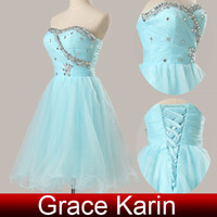 ball gown prom dresses - High Quality Voile Short Homecoming Dress Ball Gown Beaded Prom Dresses CL4503