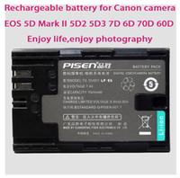 Standard Battery Camera Batteries Yes LP-E6 LPE6 Digital Battery Original Pisen Camera Video Rechargeable Li-ion Battery For Canon EOS 5D Mark II 5D2 5D3 7D 6D 70D 60D 1500mah