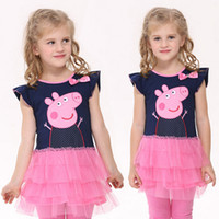 Wholesale 5 different size age cotton girls dresses kids clothes deep blue knot peppa pig girl dress baby party El vestido C093