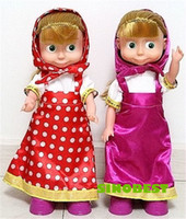 Wholesale Dancing Masha Dolls For Girls Russian Language Musical Masa I medved Anime Figure Toys New Year Birthday Christmas Gifts