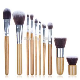 Professional New 10 PCS Cosmetic Brush set TOOLS Bamboo Handle Synthetic Makeup Brush Kit make up brush set tools Free Shipping