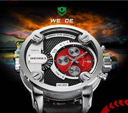 fashion sports watches WEIDE WATCH,Black leather water-resistant style watch of WD05