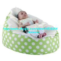 75cm x 55cm x 40cm  baby furniture - Modern Portable baby bean bag chair baby seat furniture kids toddlers beanbag convenient baby travel beds sleeping bed green polka white
