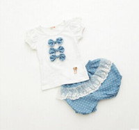 baby girl kids 2pc set ribbon bow shirt singlet tee tank top...