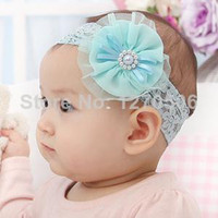 Hair Sticks nylon chiffon - 2014 Hot Sale Floral Children Novelty Girls Headbands Nylon New Baby Chiffon Flower Pearl Hair Band infant Headband Accessories