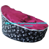fabric 75cm x 55cm x 40cm  fabric Modern Portable baby bean bag chair,baby seat furniture, kids toddlers beanbag,convenient baby travel beds,sleeping bed - skull pink