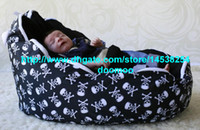 fabric 75cm x 55cm x 40cm  fabric Modern Portable baby bean bag chair,baby seat furniture, kids toddlers beanbag,convenient baby travel beds,sleeping bed - skull black