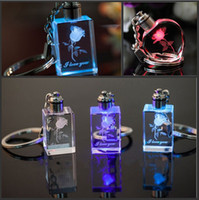 LED laser engraved crystal - Personalized Design Laser Engraving Pattern Crystal Keychain LED Colorful Changing Heart Shape Couple Key Chain Fashion Gift