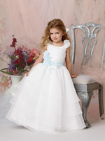 Wholesale Custom Made White A Line Organza Flower Girls Dresses Tiered Sash Vintage Formal Dresses Gowns for Pageant Junior Bridesmaid Dresses