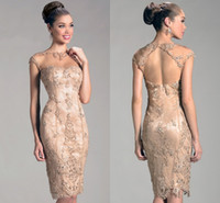 Reference Images Jewel Neckline Lace 2015 Attractive Beteau Open Back Cap Sleeves Champagne Lace Beaded Knee Length Mother Dress For Wedding Sexy Open Back Prom Gown On Sale