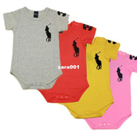 Unisex Summer O-Neck Wholesale-NEW Arrival! 5 colors Short-Sleeved Baby Romper Brand Infant Rompers for boys and girls Baby Clothing Set407