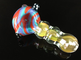 Wholesale glass smoking hand pipes rt146 gold fumed color g glass smoking pipes spoon pipes manufacturer