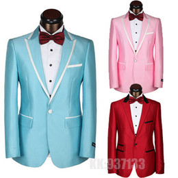 Wholesale new One Button Luxury Brand men suit fashion dress Suit and Pants italian wedding suits mens groom slim fit groom suits