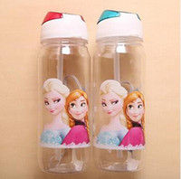 Wholesale EMS freeship Children Cup Cartoon Fro zen Elsa Anna PP Texture Suction Cup With Drinking Straw Water Bottle Freeshipping