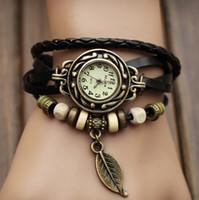 Wholesale 500pcs New Arrivals Genuine Leather Hand Knit Vintage Watches bracelet Wristwatches Leaf Pendant