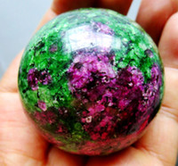 natural crystal ball sphere - Hot Sell MM Natural Ruby Zoisite Sphere Magic Crystal Healing Ball stand