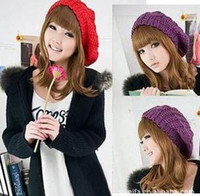Wholesale Korean version of the new autumn and winter big bud cannabis spherical knitted hat female models wool beret