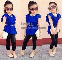 Wholesale Short Leggings Children - Children Set Kids Suit Outfits Girl Clothes Short Sleeve T Shirt Black Leggings Tights Child Suit Kids Sets Girls Outfits Children Clothing