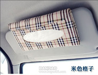 Wholesale Car Sun Visor Tissue Paper Box Napkin Clip Pu Leather Auto Accessories Buff Lattice