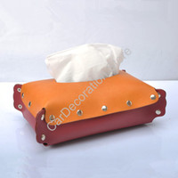 Wholesale DIY Leather Car Desk Tissue Box Cover Holder Case Folding Paper Towel Case Cover