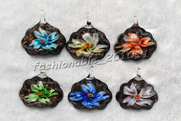 Flower In Multi-Color Lampwork Murano Glass Pendant necklaces #pdt124