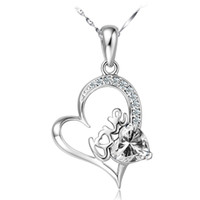 Wholesale 925 sterling silver necklace Heart shaped necklace Fashion crystal pendant Natural crystal