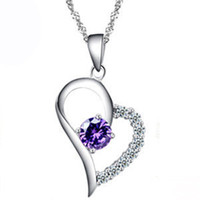 Wholesale 925 sterling silver necklace Crystal pendant Heart shaped pendant