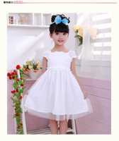 TuTu Summer Pleated 2014 Korean version children's clothing ,girls cotton dresses,princess dresses,two colors(red and white)
