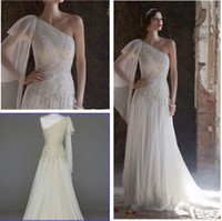 Reference Images handkerchief dresses - Custom Made New A Line One Shoulder Gown pleated bodice with Handkerchief Hemline appliques Style SWG579 Wedding Dresses