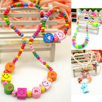 Jewelry Sets Fashion 2 T1023 Candy colored beads Snowflake Fashion Cartoon cat Lovely color wood Children sweater chain Girls Necklace Bracelet set