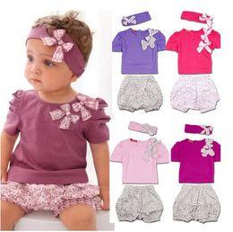 Wholesale Baby summer clothing set children t shirt pant headwear pieces set bowknot clothing set flowe print