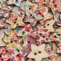 Quilt Accessories Buttons Multicolored Wholesale - 400pcs Mixed Star Shaped 2 Hole Wooden Sewing Buttons Scrapbooking 22mm 111622