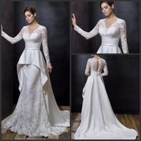 Ball Gown Reference Images V-Neck 2014 New Arrival Long Sleeve Floor Length Court Train Lace louisvuigon Elegant Zuhair Murad Dubai Kaftan Abaya Wedding Dresses
