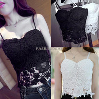 Women Polyester Polo New Arrival Floral Lace Bustier Top Bralet Strapless Bodycon Crop Top Party Corset Bra 2 Colors #11 SV003304