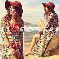 Casual Dresses V_Neck A Line Womens Chiffon Long Sleeve Boho Gypsy Hippie Long Maxi Dress
