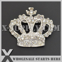 Wholesale DHL Crown Metal Silver Rhinestone Embellishments Button with Brooch Backing for Wedding Invitation Bows