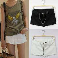 Wholesale shirt S L New Summer Vintage Women Sexy washed low rise double zipper denim shorts high Waist Girls shorts jeans F050