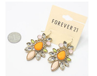 Other Yes it is Fashion European-style fashion high quality natural semi-precious stones inlaid acrylic diamond flower pendant earrings C85