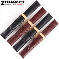 Wholesale mm watch band Durable Genuine Leather Deployant Bracelet Strap Watch Band Brown Black 407