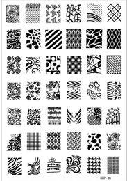 Wholesale-New Arrival Large Size Nail Stamp Plates Retail KXP-03 Fashion Designs Konad Stamping Nail Art Set Nail Stencil Templates407