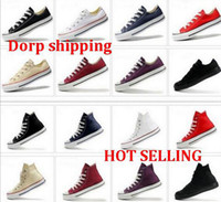 Lace-Up Unisex Spring and Fall FREE shipping High-quality RENBEN Classic Low-Top & High-Top canvas Casual shoes sneaker Men's Women's canvas shoes Size EU35-45 retail