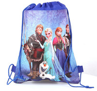 Wholesale New arrival frozen ice princess woven double sided printing foreign trade Drawstring Backpacks Drawstring bags