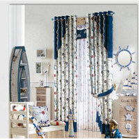 Wholesale Boy cartoon Mediterranean style of children room environmental protection printing curtains on manufactured go