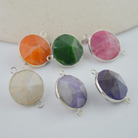 Wholesale Hot Silver Plated amp Mixed Color Agate Connector Beads gem stone Findings